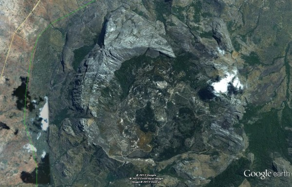 Google Earth view of the Chombe area in the Mulanje Masiff Range.