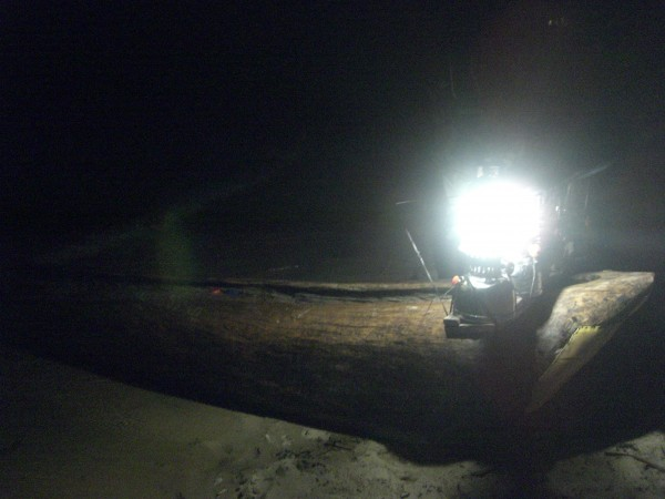 Lake Malawi nite Fishing, Dugout Canoe W/5 Colman lantern rack.