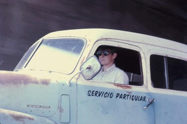 Dennis driving Chouinard's truck, 1969