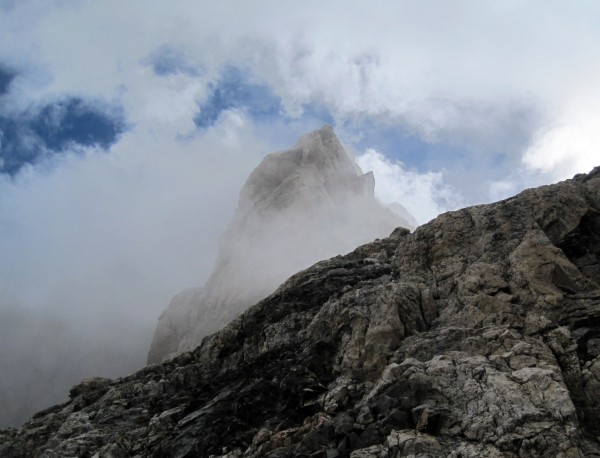 The Enclosure enshrouded in clouds, seen on the Valhalla Traverse.