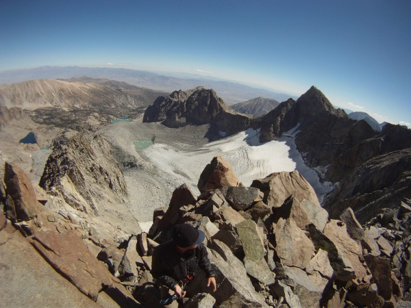 Palisade Glacier, Sill, Gayley, & Temple crag. Our camp was just over ...