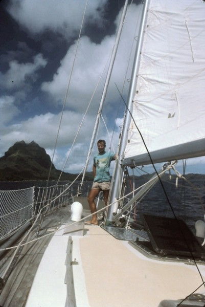 BooDawg aboard Shanachie, entering the Bora-Bora Lagoon before departi...