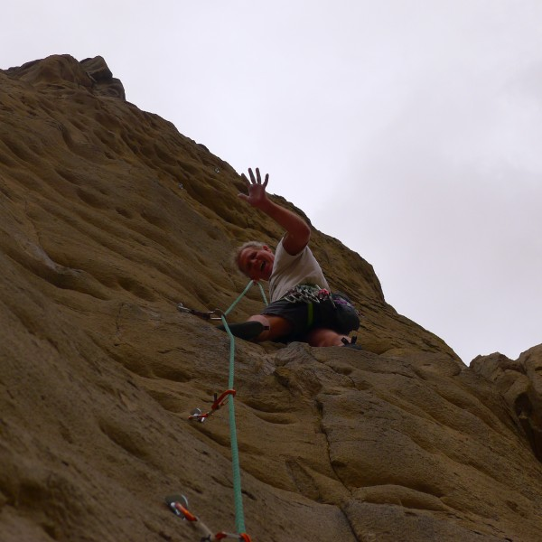 Mike Arechiga on new super fun 5.8 2 pitch route on Penstock Rock.