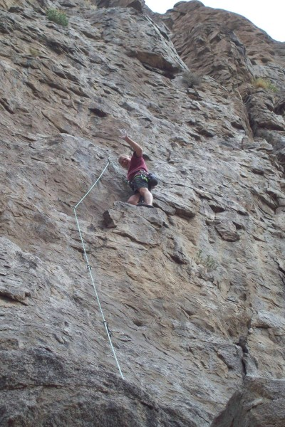 Mike Arechiga on fun new 5.8 climb on Banana Belt Wall.
