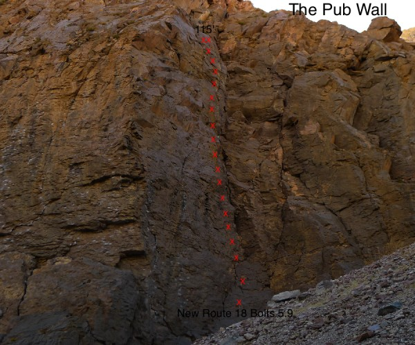Super fun new 5.9 at The Pub Wall, need a 70 meter rope for this one.