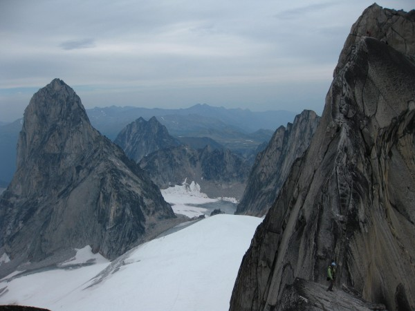 Heading up to the second summit of pigeon spire