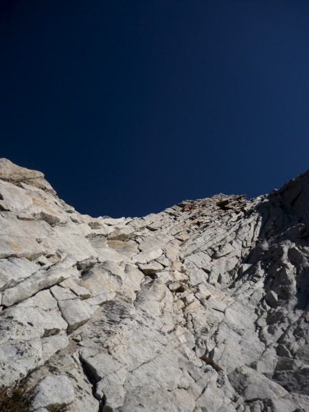looking up at the start of the W. ridge of Conness