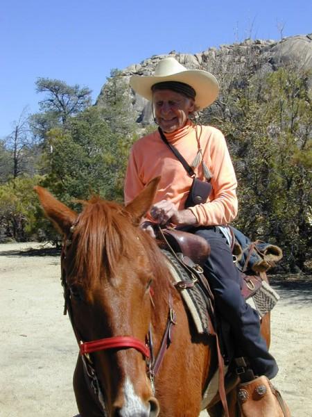 "A climber-cowboy in Baja. Beckey riding ""Tajo"" a frisky 4-year old at ..."