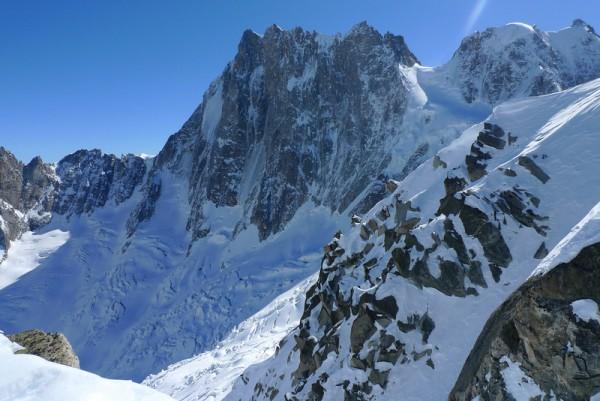 Grande Jorasse from our second descent ski line, March 2010...