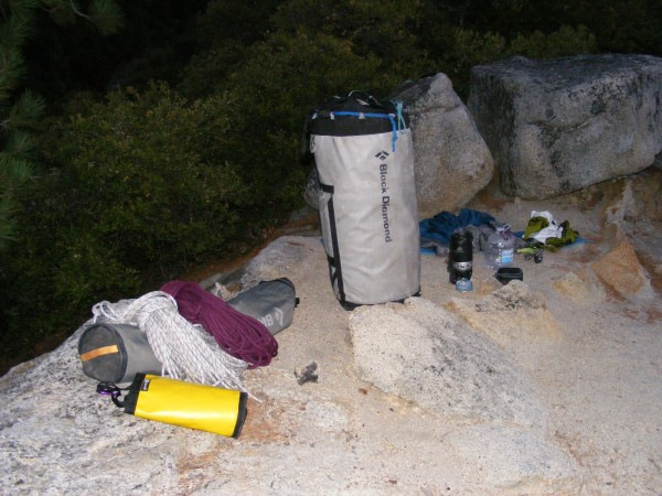 My gear on the summit of the Prow.