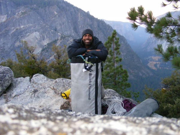 Self portrait with my stuff at the summit of the Prow.