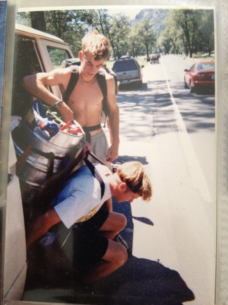Shaggy (Brent Edelen) and Andrew hauling a keg up El Cap, 1998.