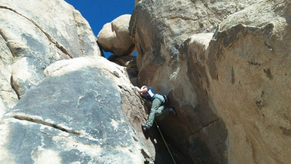 Christina climbing in Joshua Tree