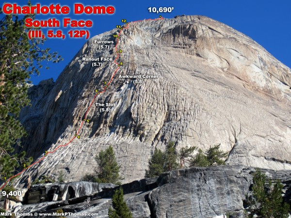 South Face of Charlotte Dome route annotation according to SuperTopo.