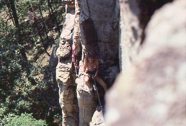 "Barbara on first pitch of ""Two Lane Highway"" 5.8 Cedar Bluffs So. Ill."
