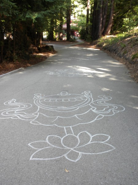 The lane to the Wish Fulfilling Temple is lined with many of these dra...