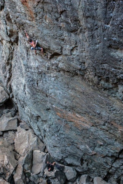 Hansi on the crux of Drama Queen .12b. Emerald's Gorge, CA.