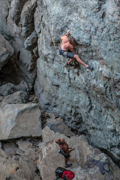 Mike on Super Alpine Direct .11a. Emerald's Gorge, CA.