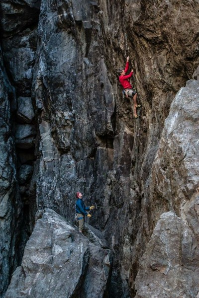 Mike heading into the lower crux on Repo Men .12d. Emerald's Gorge, CA...