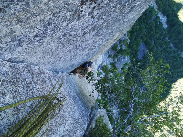 Nathan nearing the top of P3 (Wilson Overhang); climbs like Eldo!