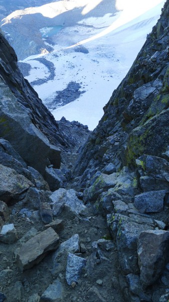 Underhill Couloir, the final crux