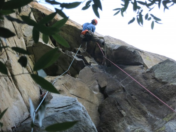 The first pitch roof - 5.10 awesome (but there are some loose blocks/c...