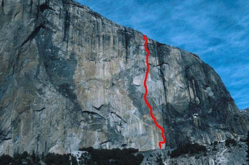 Image of the route on El Cap <br/>