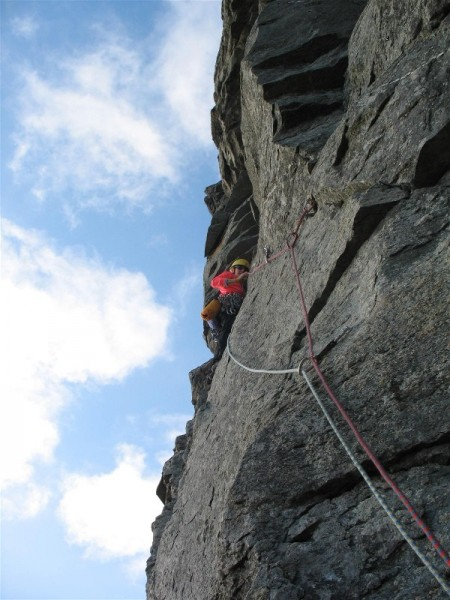 Isa Oehry  on P2 of Isabella 5.10a Bird Mtn VT
