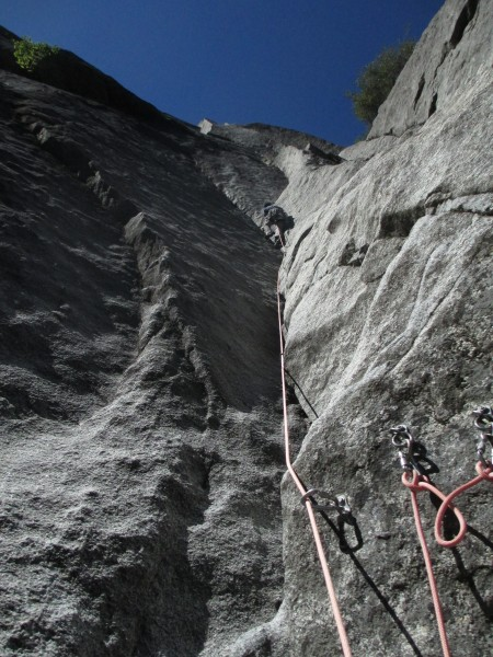Steve about to bust the crux (.10c+) transition into the next sustaine...