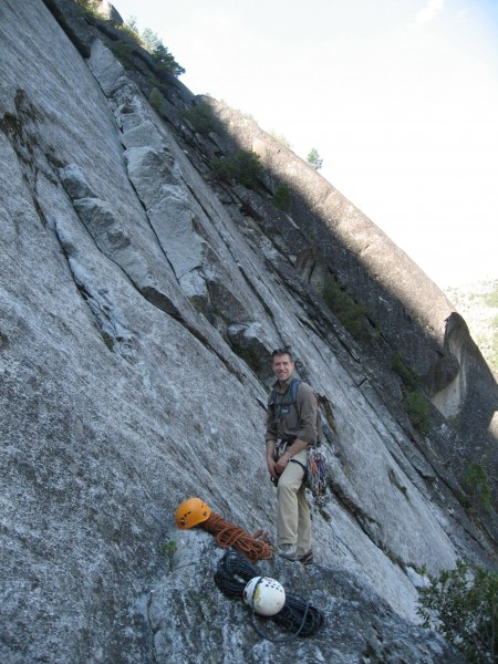 Old Smokey (5.9) starts in the flake/dihedral behind me, then ...