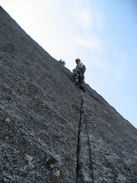 Geoff stopped at a ledge half-way up the pitch and built an anchor to ...