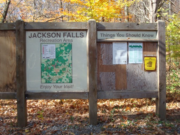 """You are Here"" sign at Jackson Falls in Southern Illinois"