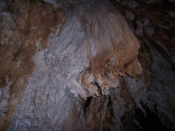 mineral deposit inside the cave