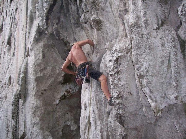 onsight of pork barrel 5.10b after caving
