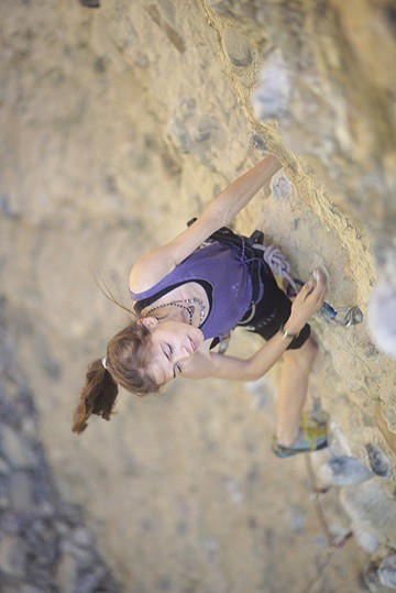 Katie Brown enjoying a 5.12 sport climb, age 13.