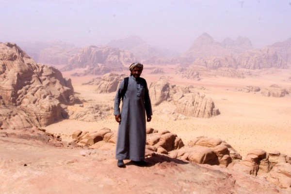One of my Bedouin climbing guides, high on the north ridge of Jebel Bu...