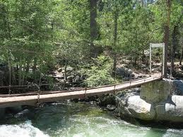 the swinging bridge in Wawona, YNP
