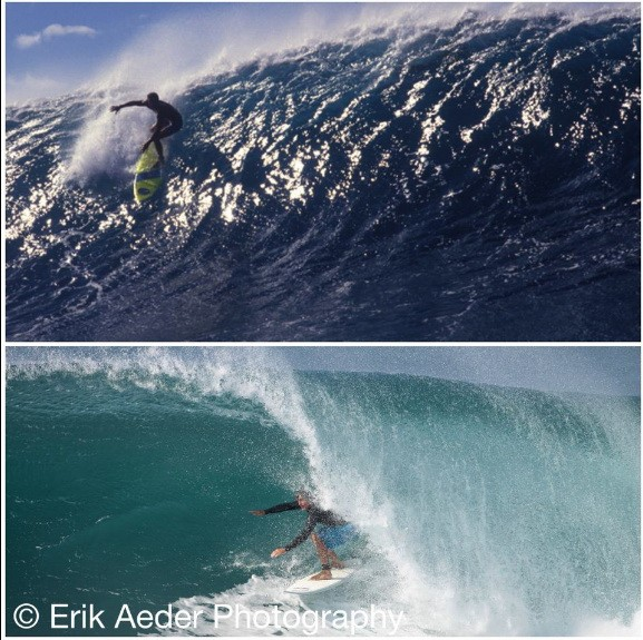 Buzzy in the 80's and today at one of the heaviest waves in the world.