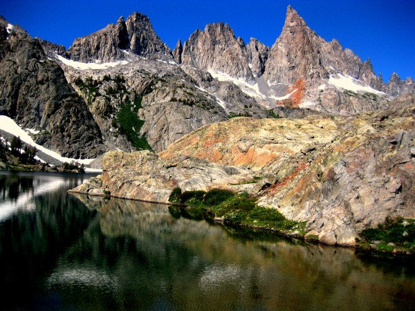 Beautiful view of Minarets. Route goes up the face of the highest poin...