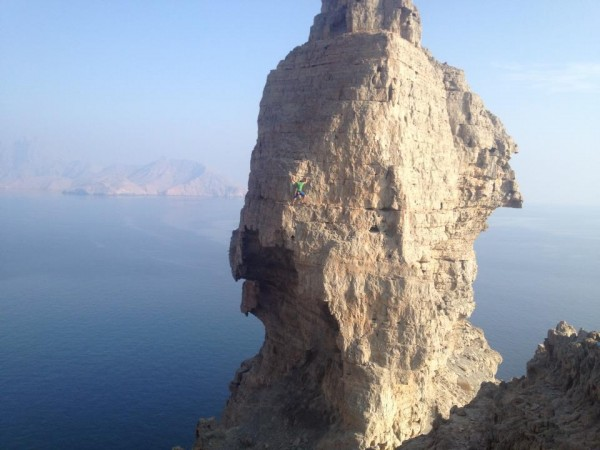 "Caption from Facebook: ""Soloing a neat little tower in Oman!! Less tha..."