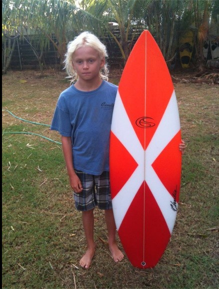 Axel's new (winter north shore Maui 0/12} stick. He added a little mor...