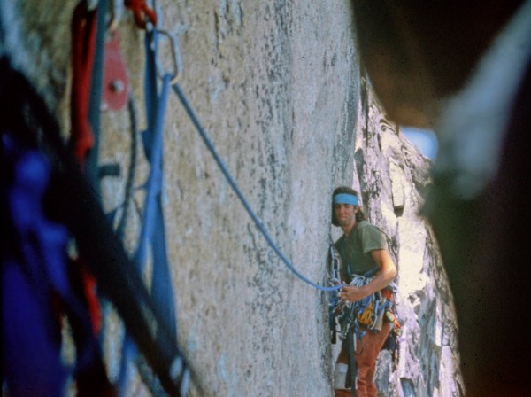 Mike Head leading the crux, 1981
