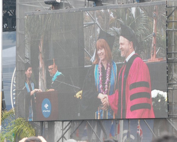 My oldest... on the Jumboton graduating from UCSD this past June, hono...