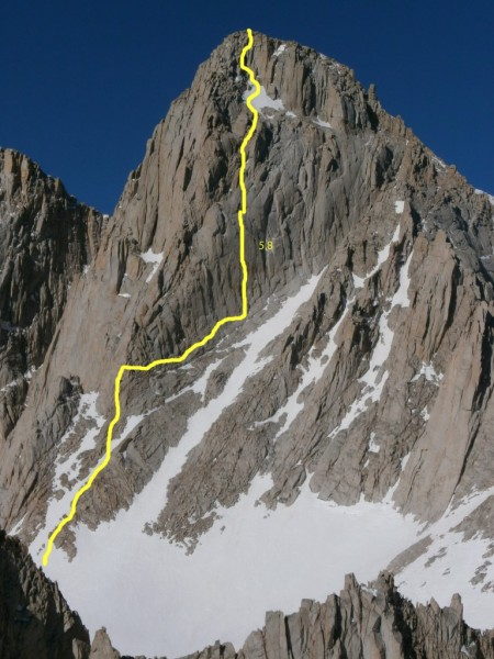 Mt. Whitney North Face, hammerless solo FA 5.8 1971