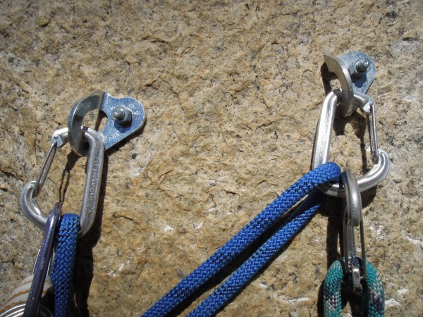 standard issue bolts at belay stations on Valkyrie.