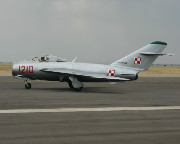 Last Air Show in Casper, a few years ago: MiG 17 taxiing for takeoff. ...