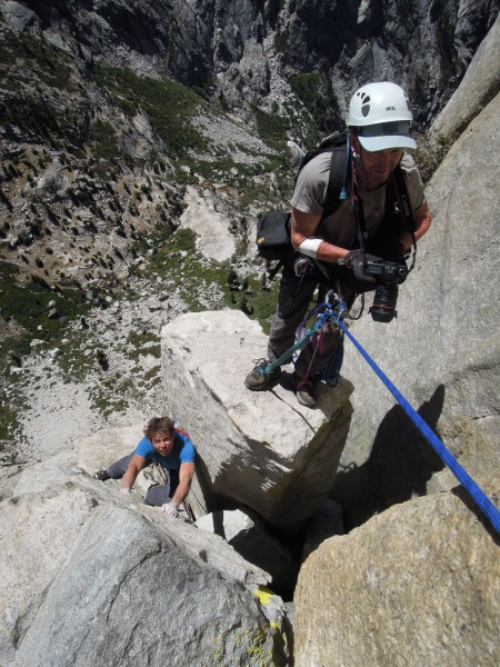 peter croft pulling up onto chiclet towers, pitch 13 on Valkyrie.  gre...