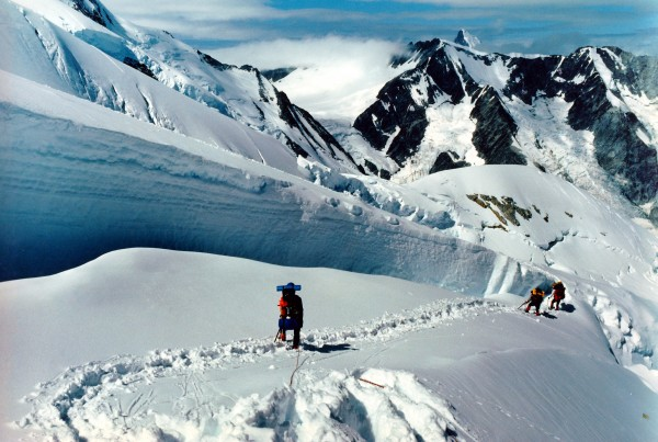Negotiating our way up to the Combatant col from the Scimitar glacier