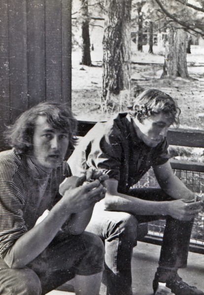 Ron Cagle and Jerry Anderson at Degnan's Dorms about 1971 <br/>