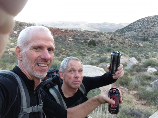 Enjoying our stash of Monster Rehab on the hike back.  Notice it's sti...